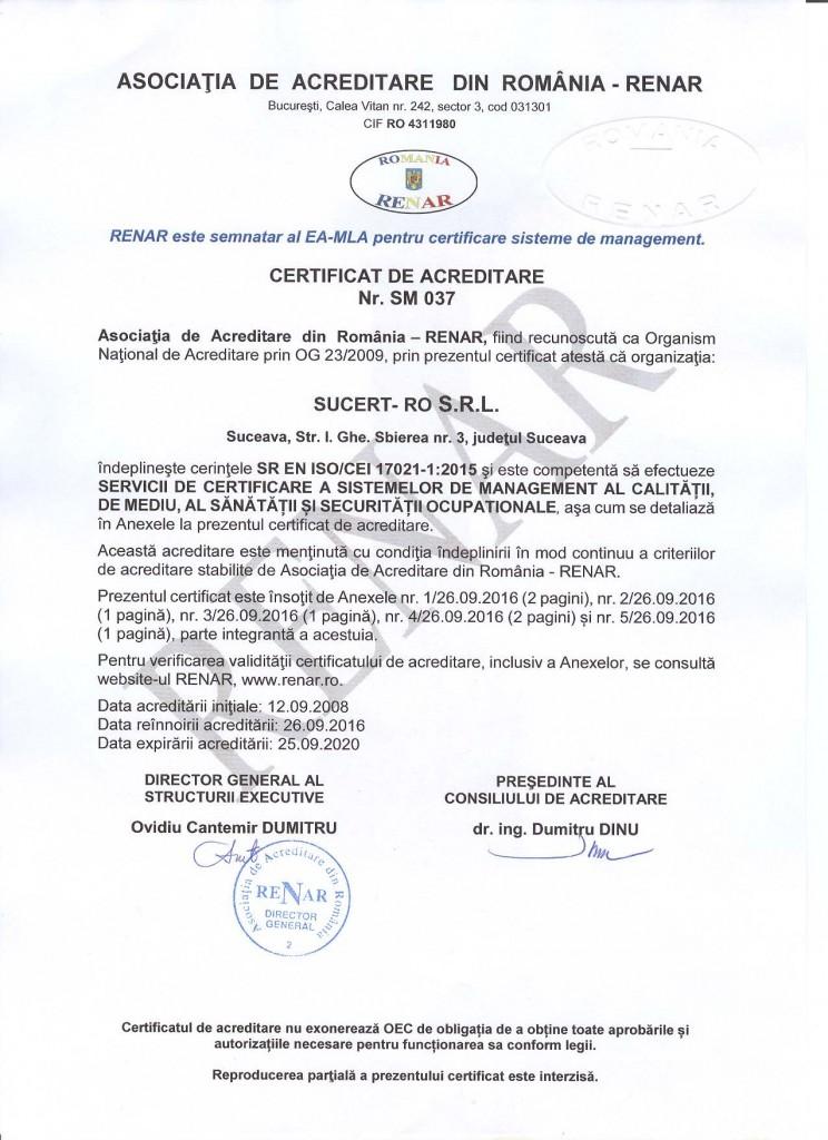 Certificat de acreditare nr. SM 037 2016